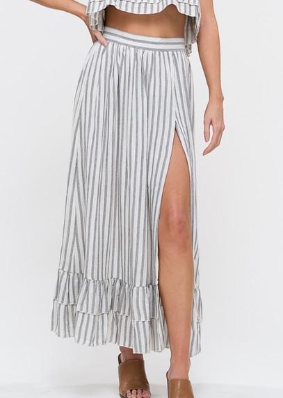 Balance Of Love Striped Skirt  - Grey