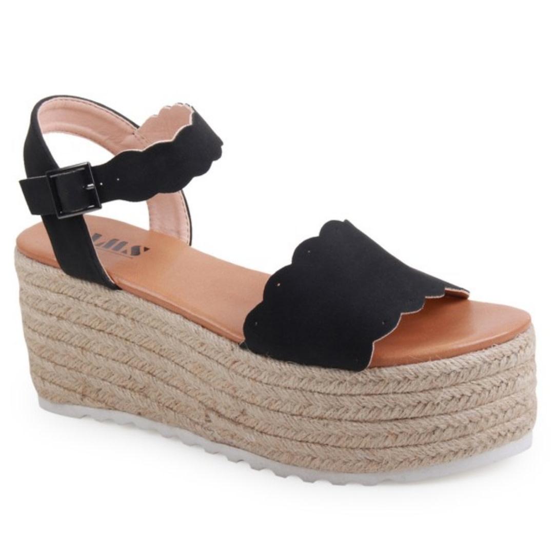 Carry Yourself Platform Band Sandal - Black