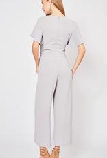 Back To Basics Self Tie Knot Detail V - Neck Jumpsuit - Light Grey