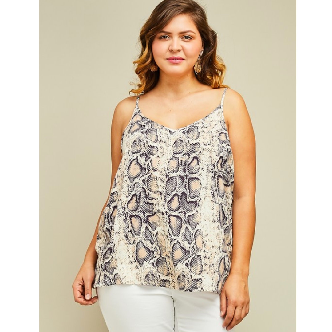 It's Going Down V-Neck Cami Top - Snake