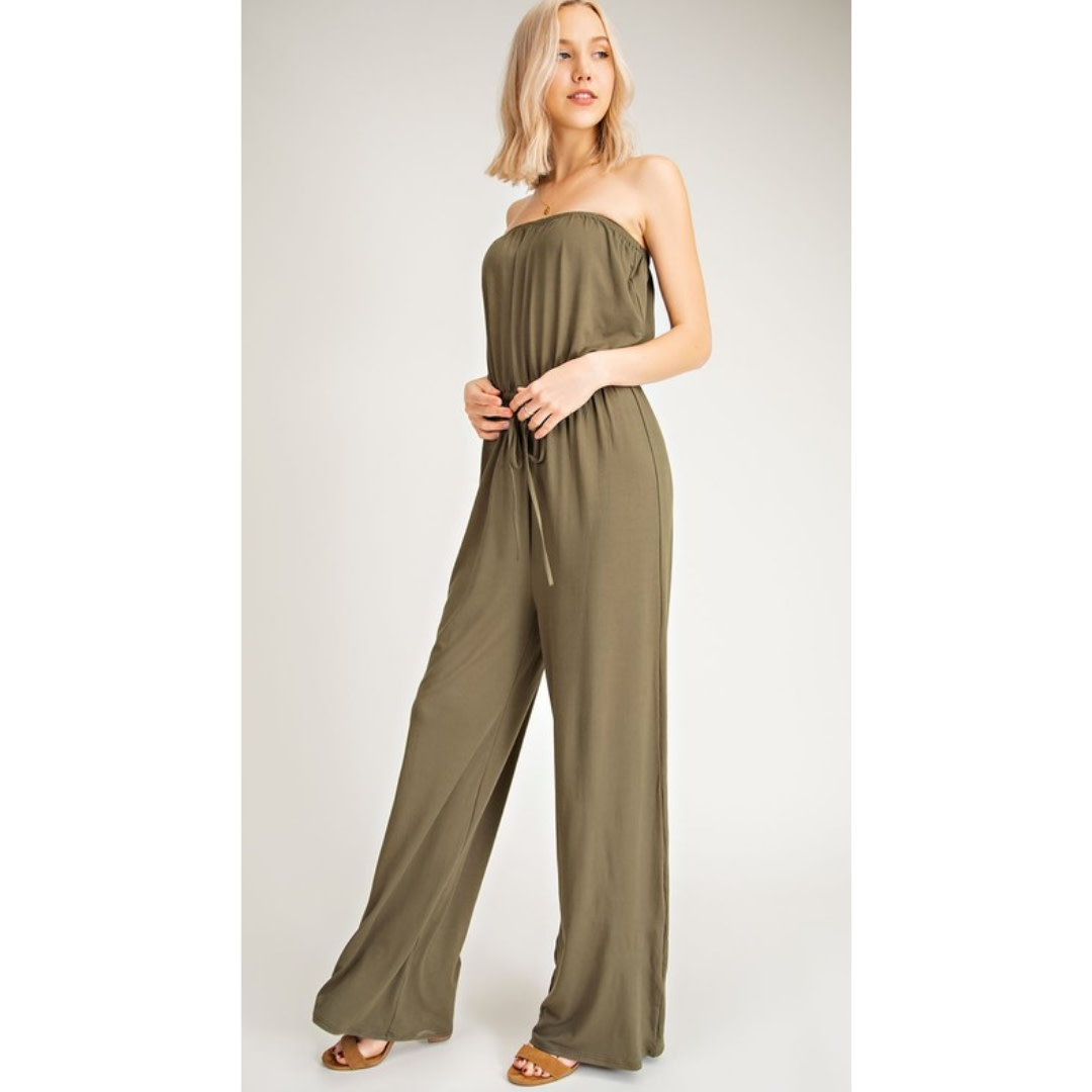 The Best Yet Strapless Jump Suit - Olive