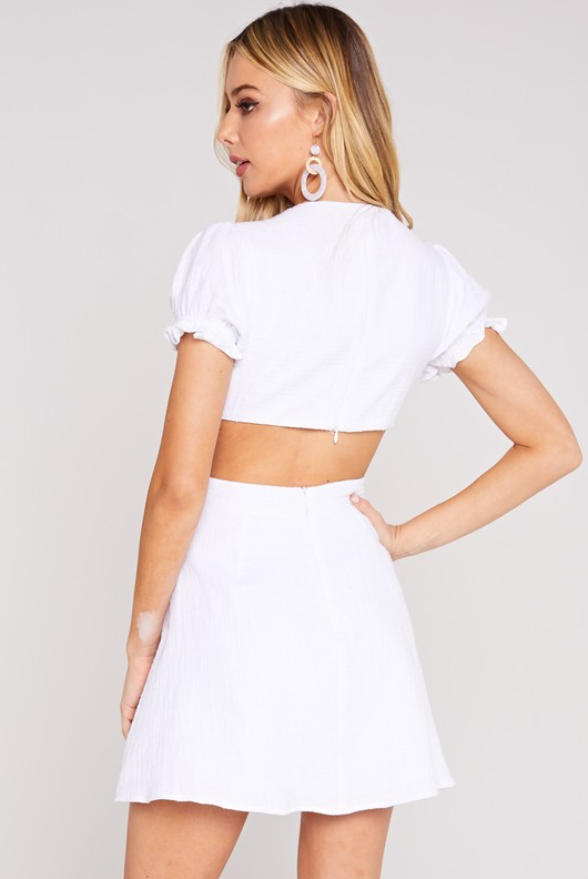 Take Up My Time Waist Cut Out Mini Dress - White
