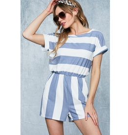 Take Your Memories Terry Romper - Light Denim