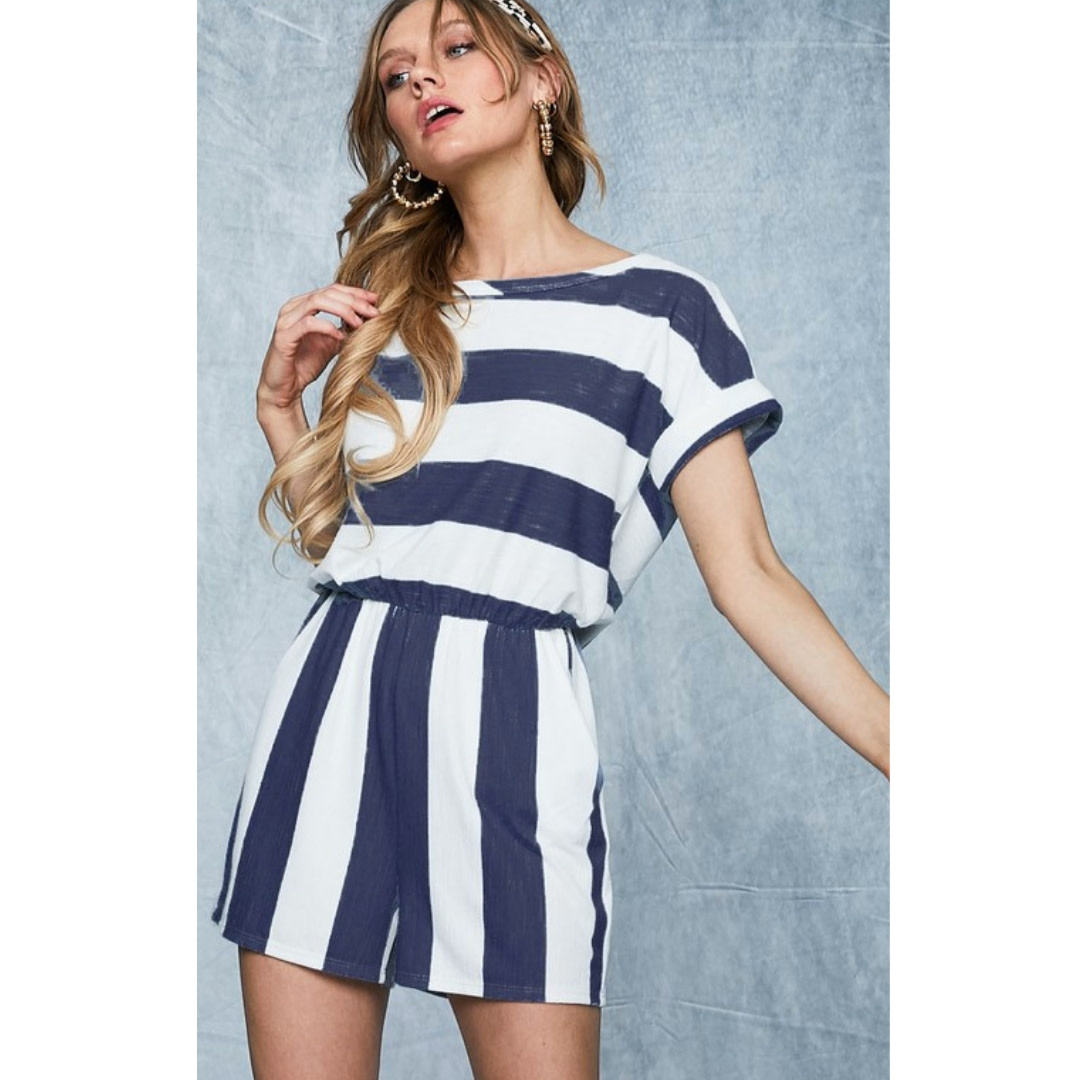 Take Your Memories Terry Romper - Navy