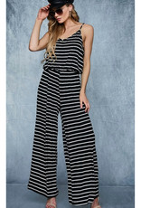 Spring In Your Step Striped Jumpsuit -Black/Ivory