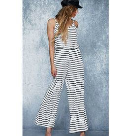 Spring In Your Step Striped Jumpsuit - Ivory/Black