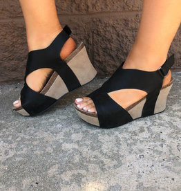Curious Nature Slingback Wedge - Black