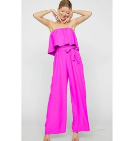 Hard To Forget Tube Top Waist Tie Jumpsuit - Fuschia