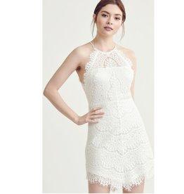 Shine Like A Star Halter Neck Dress - Ivory