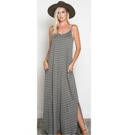 Love Games Striped Cami Maxi Dress -Olive/Ivory