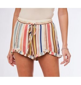 Opportunity Awaits Ruffled Striped Shorts - Mint