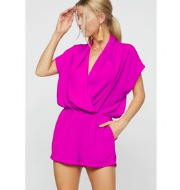 Living The Dream V-Neck Romper- Fuschia