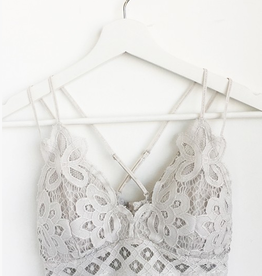 Fallen Flowers Scalloped Lace Bralette - Light Gray