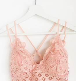 Fallen Flowers Scalloped Lace Bralette - Mellow Rose