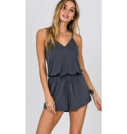 Out Of Your League Sleeveless Strappy Romper - Chargray