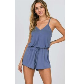 Out Of Your League Sleeveless Strappy Romper - French Blue