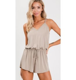 Out Of Your League Sleeveless Strappy Romper - Taupe