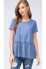 Gets Me Going Solid Scoop Neck Top - Denim