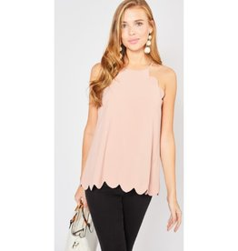 Definitely Maybe High Neck Scalloped Top - Blush