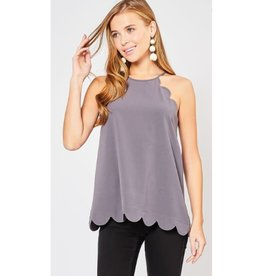 Definitely Maybe High Neck Scalloped Top - Charcoal