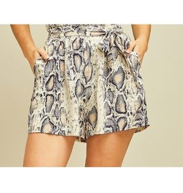 A Little Bit Wild Reptile Print High Waisted Shorts - Snake