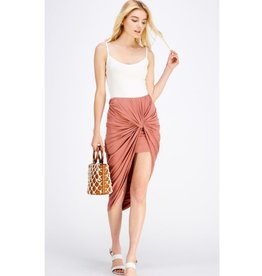 What You Wanna Hear High Waisted Skirt - Red Brown