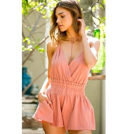 Sweet Like Candy Choker High Waist Ruffle Romper - Dusty Rose