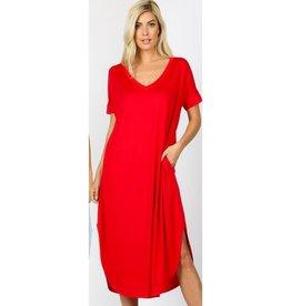 Tell The World Short Sleeve Dress W/Pockets - Ruby