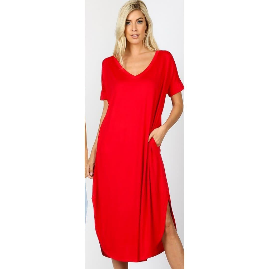 Tell The World Short Sleeve Dress W/Pockets - Ruby
