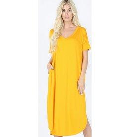 Tell The World Short Sleeve Dress W/Pockets - Dark Mustard