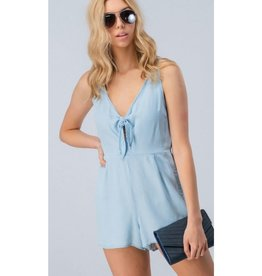 A Day In The Life Knot Sleeveless Romper - Light Denim
