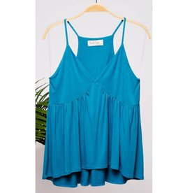 A Beautiful View Flowy Babydoll Cami Top  - Teal