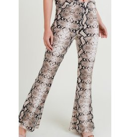 Thinking About You Snake Print High Waist Pants - Brown