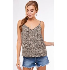 Around Town Leopard Print Scallop Cami Top - Taupe