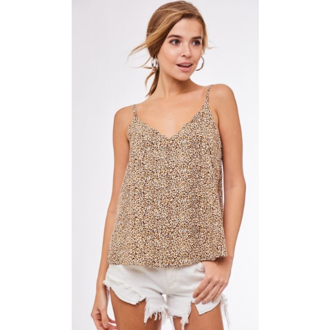 Around Town Leopard Print Scallop Cami Top - Yellow