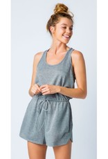 All The Best French Terry Romper - Heather Charcoal