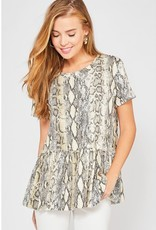 Want You Close Snake Print Top - Brown