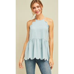 Definitely Maybe High Neck Scalloped Top - Blue