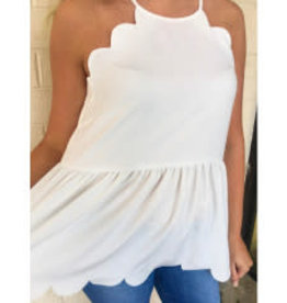 Definitely Maybe High Neck Scalloped Top - Off White