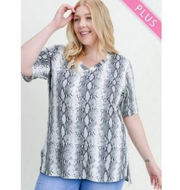 Pull Me Close Snake Print Top - Grey