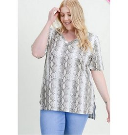 Pull Me Close Snake Print Top - Taupe