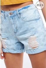 Hustle And Bustle Distressed Girlfriend Denim Shorts - Light Denim