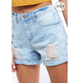 Hustle And Bustle Distressed Girlfriend Denim Shorts - Light Denim