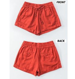 Straighten Out Drawstring Shorts - Red