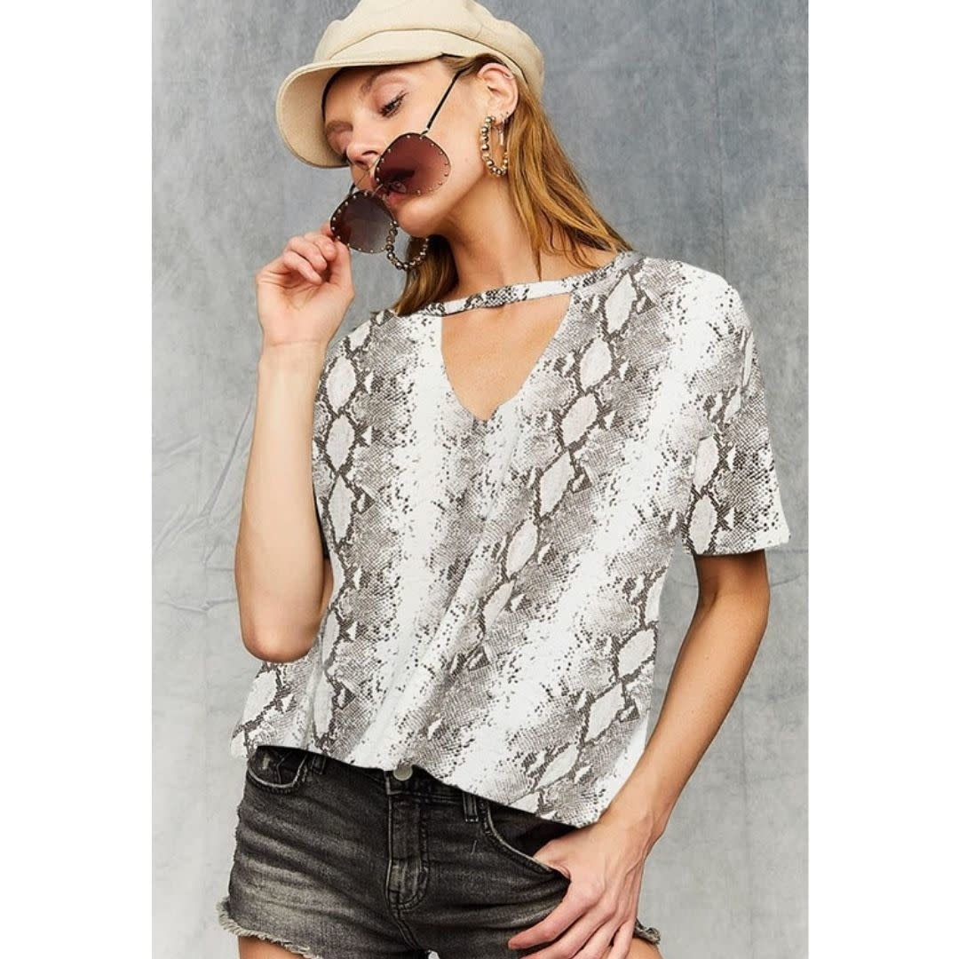 Out Of Office Keyhole Top - Snakeskin