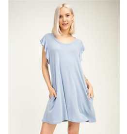 Smitten With Spring Sleeveless Ruffle Dress - Light Denim