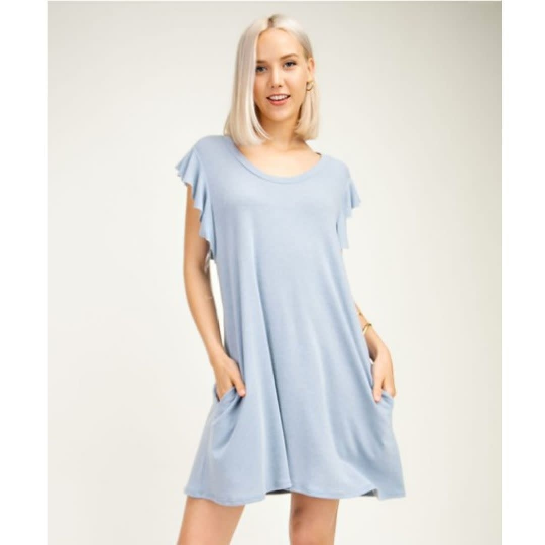 Smitten With Spring Sleeveless Ruffle Dress - Light Denim