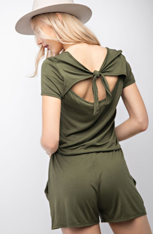Show The World Back Tie Drawstring Romper - Olive