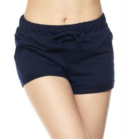 It's All Good Rolled Cuff Drawstring Shorts - Navy