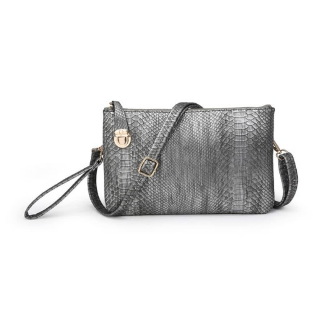 Note To Self Twist Lock Snakeskin Clutch/Crossbody - Pewter